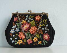 Vintage Needlepoint Bag / 50s Large Black Multi by zestvintage