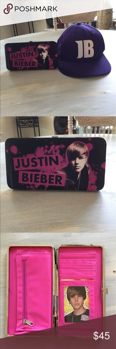 Justin Bieber Wallet and Members Only Hat. Great Vintage Justin Bieber Wallet, Including A Sicker. A JB Purple Hat, Only available through his fan club. Accessories Hats