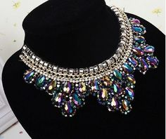 Statement Necklace Multi Color Necklace by goddessdesignsgems Multi Coloured Necklaces, Crystal Statement Necklace, Prom Party, Bridal Necklace, Special Occasion, Crystals, Trending Outfits, Unique Jewelry, Handmade Gifts
