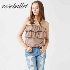 rosebullet玫瑰子弹初秋可爱层叠甜美波点抹胸上衣女显瘦-tmall.com天猫