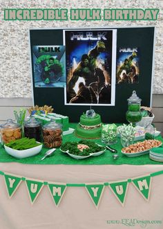 Alexandra D's Birthday / Incredible Hulk - Photo Gallery at Catch My Party Hulk Birthday Parties, Superhero Birthday Party, 4th Birthday, Birthday Ideas, Incredible Hulk Party, Avengers Birthday, Festa Party, The Incredibles, Hulk Smash