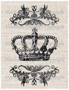 Crown Iron On Digital Transfer Vintage Royal by HeirloomGraphics, $1.00