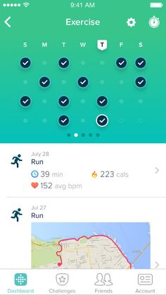 Use the Fitbit app and dashboard to track activity, record workouts, log food, connect with friends and family & more. Available on iOS, Android and Windows devices Calendar Ui, Workout Calendar, App Design Inspiration, App Ui, Ui Ux, Conception D'applications, Chemistry Textbook, Fitbit App, Green Companies