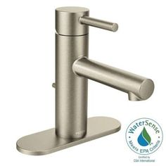 MOEN Align Single Hole 1-Handle Bathroom Faucet in Brushed Nickel-6190BN - The Home Depot
