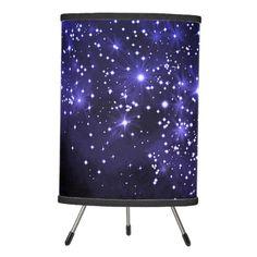 Shop Midnight Blue Galaxy Tripod Lamp created by ManCavePortal. Linen Lamp Shades, Sparkling Stars, Incandescent Light Bulb, Galaxy Print, Hanging Pendants, Tripod Lamp, Rice Paper, Midnight Blue, Pendant Lamp