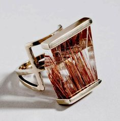 Ring | Margaret De Patta.  White gold and rutlilated quartz. c. 1949