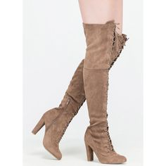 On Corset Lace-Up Over-The-Knee Boots ($33) ❤ liked on Polyvore featuring shoes, boots, over-the-knee boots, tan, high heel boots, tan boots, chunky heel boots, over the knee high heel boots and lace up thigh boots