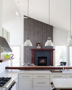 modern kitchen by Hufft Projects  solution for those awkward, angled ceiling fireplaces I run into all the time.