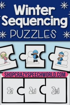 Winter Sequencing Puzzles are perfect for a winter theme, as well as for targeting multiple skills in your speech therapy sessions. Your students can work on sequencing, pronouns, verb tense, vocabulary, articulation carryover, and so much more!