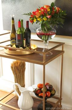 Gold Bar Cart  from Target! Dress up your holidays with these tips. Simple and gorgesous Fall Decorating Ideas.