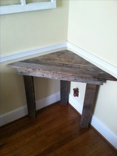 Easy corner desk out of pallet wood. Also would be a great corner bench seat for a small space.