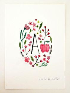 Monogram Letter A floral apple art print by AmeliaHerbertson, $15.00
