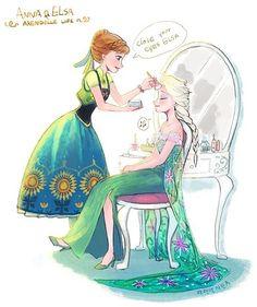 Anna doing Elsa's makeup