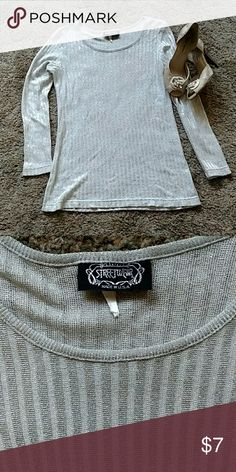 Streetwear silvery top stretchy No size  looks Medium gently worn Tops