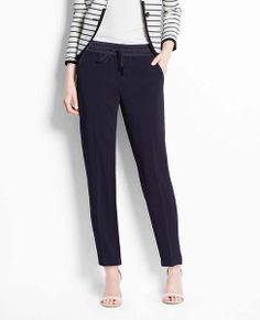 Crepe Drapey Drawstring Pants | Ann Taylor - def want these when they go on sale. So comfy, and look so much nicer in person. Fit perfectly, can wear for basically anything.