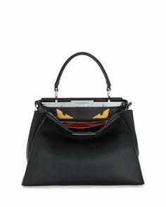 cca3c2310bd4 Black Leather Satchel, Black Tote Bag, Leather Purses, Leather Handbags,  Fendi Peekaboo