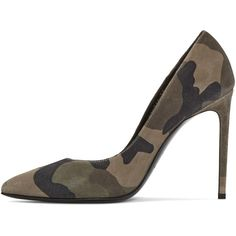 Saint Laurent Green Suede Camouflage Paris Pumps ($548) ❤ liked on Polyvore featuring shoes, pumps, green suede shoes, pointed toe high heels stilettos, high heel stilettos, suede shoes and stilettos shoes