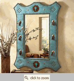 Turquoise Suede Mirror w/ Jeweled Crosses