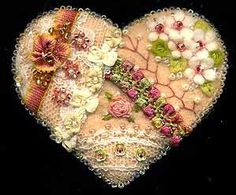 Wool Felt Crazy Quilt Heart Pin F - SORRY, THIS IS SOLD