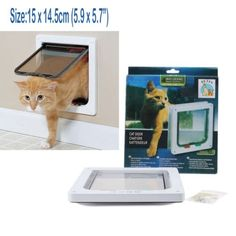 White 4-Way Magnetic Lockable Dog CAT Kitty cat safe Flap Door Small Medium 12lb => Save this wonderfull item : Cat Doors, Steps, Nets and Perches