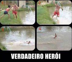 Demonstração de coragem e ousadia de um tiozão que cai num rio lago ao ser sabotado em sua missão mas salva o mais importante.. hUAhUAhau