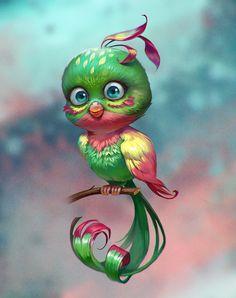 The amazing digital art of Valeria Styajkina Cute Animal Drawings, Bird Drawings, Cartoon Drawings, Cute Drawings, Cute Fantasy Creatures, Cute Creatures, Wild Animals Pictures, Design Digital, Digital Art