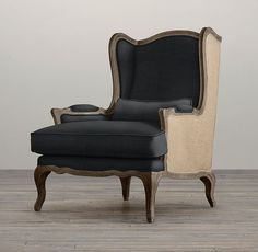 Lorraine Chair with Burlap | Chairs | Restoration Hardware Chair And Ottoman, Wingback Chair, Chair Upholstery, Upholstered Chairs, Armchair, Farmhouse Table Chairs, Table And Chairs, Dining Chairs, Burlap Chair