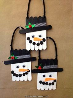17 Clever Popsicle Crafts Ideas For Your Children This Christmas - New . - 17 Clever Popsicle Crafts Ideas For Your Children This Christmas – New Diy The Effective Pictures - Cute Christmas Decorations, Snowman Decorations, Easy Christmas Crafts, Snowman Crafts, Ornament Crafts, Christmas Activities, Christmas Projects, Simple Christmas, Kids Christmas