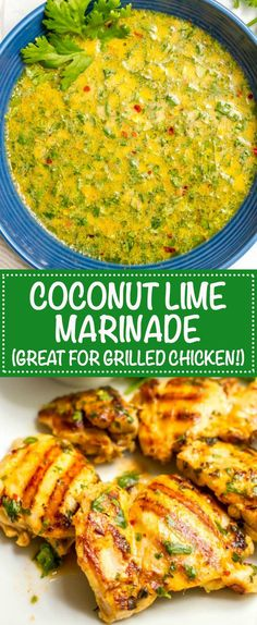 Coconut lime grilled chicken marinade – Family Food on the Table Coconut lime grilled chicken marinade is an easy way to infuse delicious flavor into your regular grilled chicken routine! Grilled Chicken Recipes, Grilled Meat, Grilled Vegetables, Pinapple Chicken Recipes, Grilled Cauliflower, Marinated Grilled Chicken, Zuchinni Recipes, Grilled Sandwich, Chicken Meals