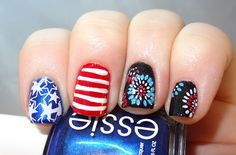 4th of July Patriotic nails