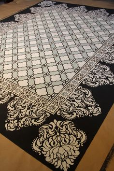DIY stenciled floorcloth
