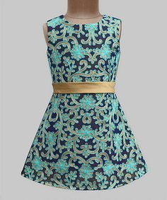 Navy Daisey Trellies Ribbon Grace Dress - Infant, Toddler & Girls #zulily #zulilyfinds