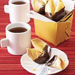 Chocolate dipped fortune cookies...so yummy!