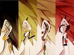 Hanta Sero, Kaminari Denki, Katsuki Bakugou, and Kirishima Eijirou pierced ears. My Hero Academia Episodes, My Hero Academia Memes, Hero Academia Characters, Boku No Hero Academia, My Hero Academia Manga, Bakugou Manga, Anime W, Anime Sensual, Kirishima Eijirou