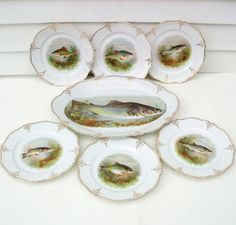 My Vesties Wish List Item  Antique Fish Plates Set Fish Platter O&EG Royal by WhimzyThyme Oh MY! #Antique #Fish #Plates