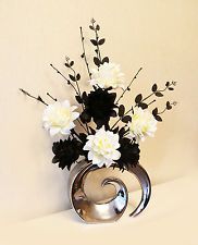 Artificial silk flower arrangement in teal white black in modern silver and black floral arrangement mightylinksfo