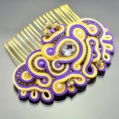 Soutache Bridal Hair Comb - Violet Creamy Gold Yellow Soutache Hair Comb - Hair…