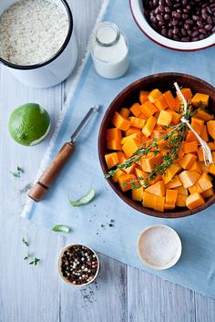 Butternut squash, black bean, thyme coconut milk rice. Weekend Cooking by tartelette, via Flickr