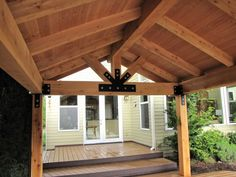 and Beam Cover and deck shortly after it's completion.Post and Beam Cover and deck shortly after it's completion. Pergola Attached To House, Deck With Pergola, Patio Roof, Pergola Patio, Backyard Patio, Pergola Kits, Pergola Ideas, Porch Ideas, Backyard Pavilion
