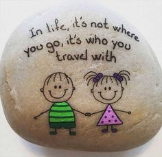Cutie stick figure / travel  Painted rock