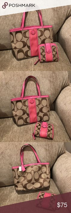 Small Coach Tote with matching wallet Pink, brown and tan authentic Coach bag with matching wallet. EUC Coach Bags Totes