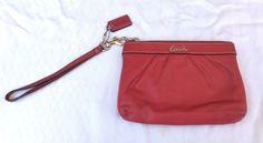 Coach Leather Wristlet Travel Coin Bag Makeup Pouch Purse ~ Silver Hardware &Tag #Coach #Wristlet