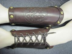 Hand Carved Celtic Knot Leather Bracers Armor Cuffs