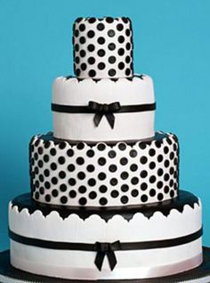 9 Black White Dot Wedding Cakes Photo - Black and White Polka Dot Wedding Cake, Wedding Cake Polka Dots and Stripes and Wedding Cake Polka Dots and Stripes White Tie Wedding, Black And White Wedding Cake, Polka Dot Wedding, White Wedding Cakes, Wedding Yellow, Cake Wedding, Elegant Wedding, Wedding Colors, Fancy Cakes