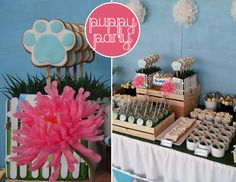 Adorable Puppy Themed 1st Birthday Party! on http://pizzazzerie.com.  This could easily be adapted to a party for actual pups.
