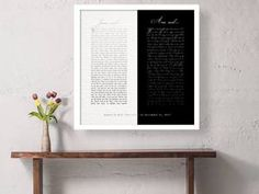 Black and white Framed Wedding Vows contemporary art for bedroom personalized Gift for spouse paper anniversary Wedding Vow art Modern