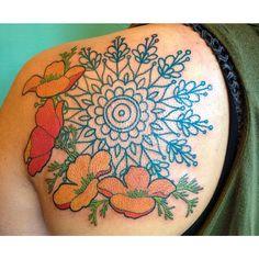 tatoo: Art nouveau poppies and Mandala tatoo Flower Tattoo Back, Flower Sleeve, Flower Tattoos, Mandala Compass, Compass Tattoo, Tattoos For Guys, Cool Tattoos, Tatoos, Sternum Tattoo