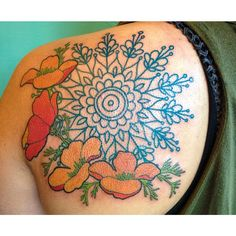 tatoo: Art nouveau poppies and Mandala tatoo Flower Tattoo Back, Flower Sleeve, Tattoos For Guys, Cool Tattoos, Tatoos, Sternum Tattoo, Mandala Tattoo, Mandala Compass, Compass Tattoo