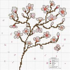 Cherry Blossoms cross stitch - free pattern @ Af's Collection Ltd Cross Stitch Tree, Cross Stitch Flowers, Cross Stitch Charts, Cross Stitch Designs, Cross Stitching, Cross Stitch Embroidery, Embroidery Patterns, Stitching Leather, Cross Stitch Pattern Maker