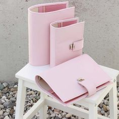 leather planner pale pink A5 leather binder A5 by elfenklang
